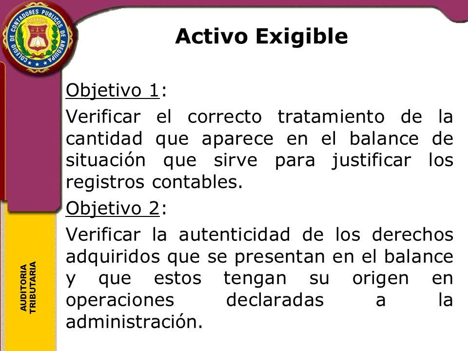 Activo Exigible Objetivo 1: