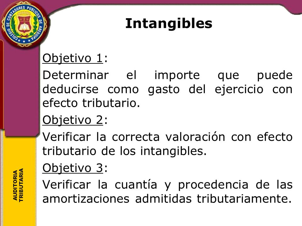 Intangibles Objetivo 1: