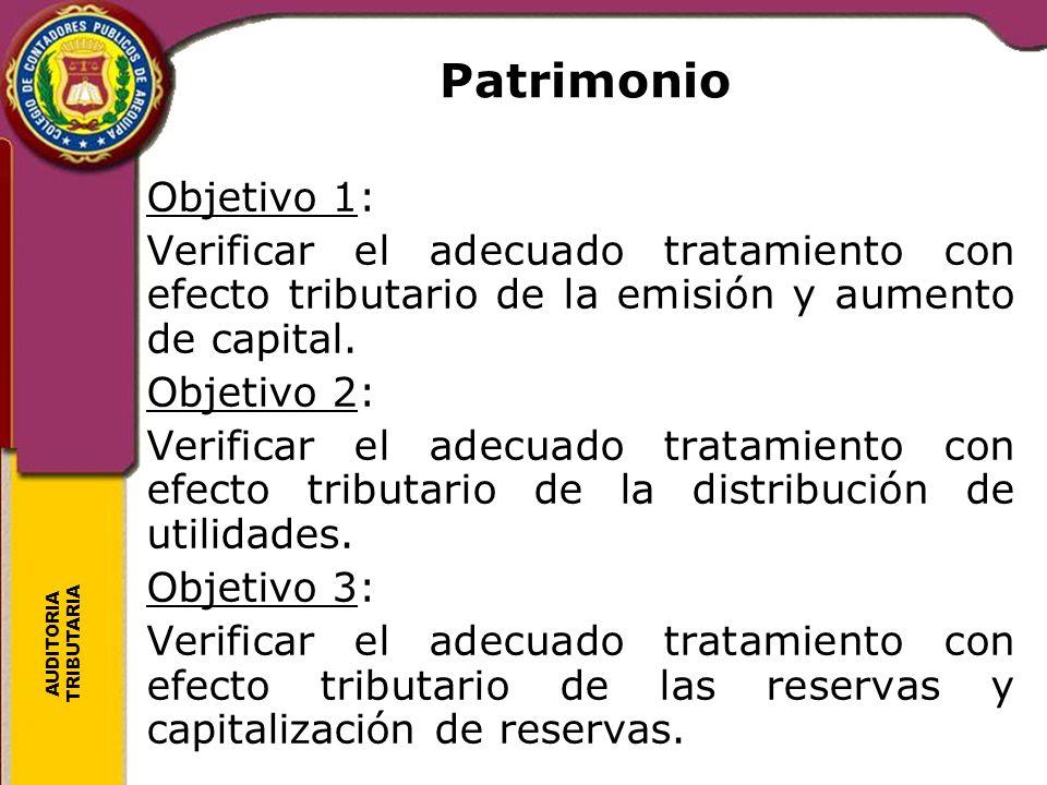 Patrimonio Objetivo 1: Verificar el adecuado tratamiento con efecto tributario de la emisión y aumento de capital.