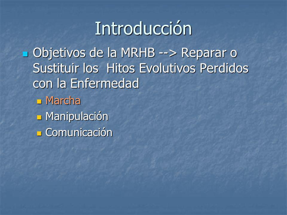 Introducción Objetivos de la MRHB --> Reparar o Sustituir los Hitos Evolutivos Perdidos con la Enfermedad.