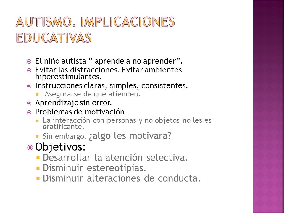 AUTISMO. IMPLICACIONES EDUCATIVAS