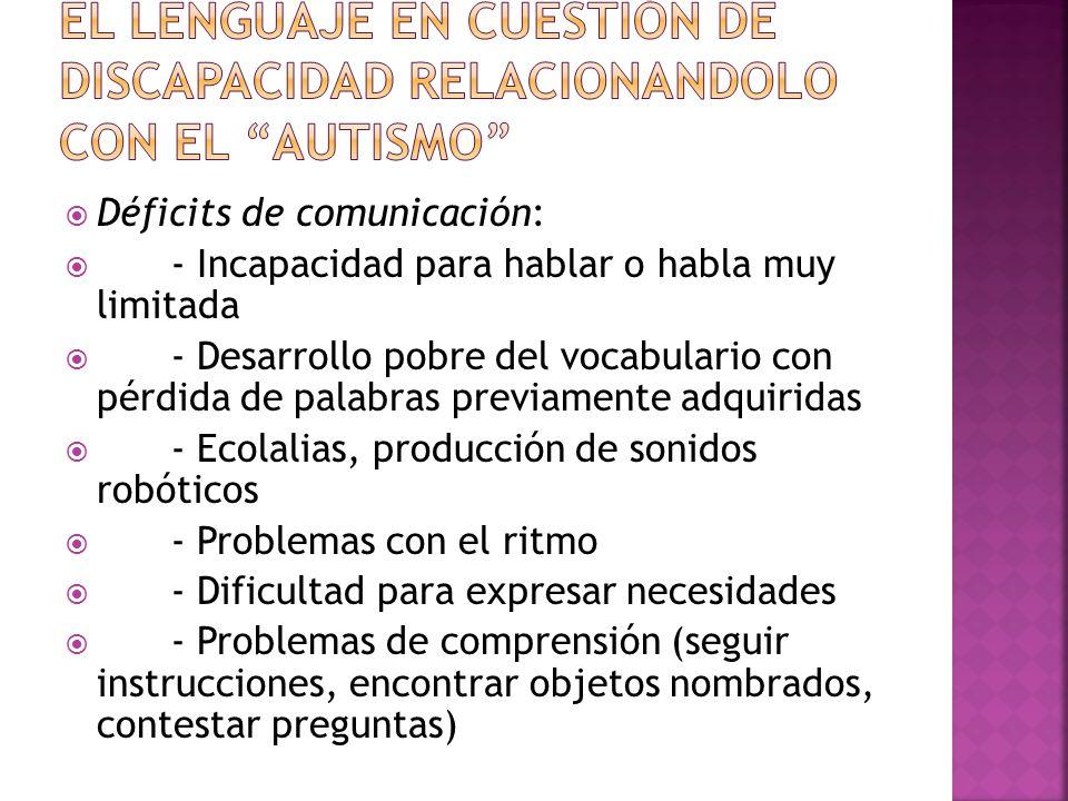 EL LENGUAJE EN CUESTIÓN DE DISCAPACIDAD RELACIONANDOLO CON EL AUTISMO