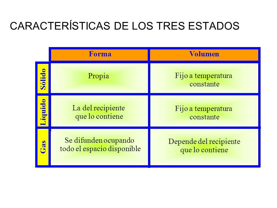 CARACTERÍSTICAS DE LOS TRES ESTADOS