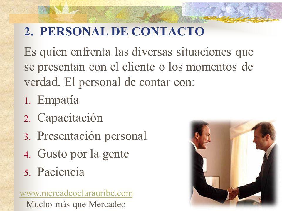 Presentación personal Gusto por la gente Paciencia