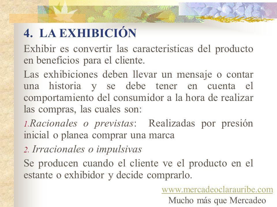 4. LA EXHIBICIÓN Exhibir es convertir las caracteristicas del producto en beneficios para el cliente.