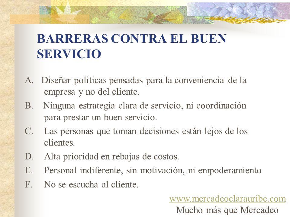 BARRERAS CONTRA EL BUEN SERVICIO