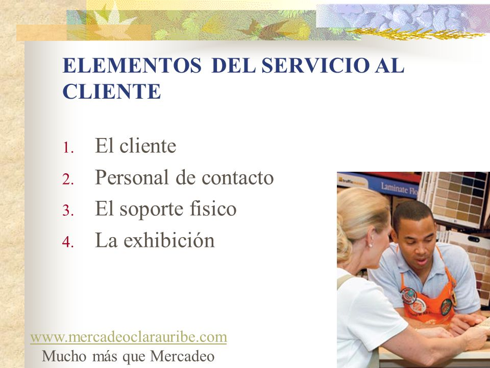 ELEMENTOS DEL SERVICIO AL CLIENTE