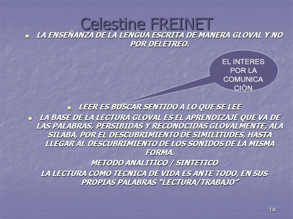 Celestine FREINET LA ENSEÑANZA DE LA LENGUA ESCRITA DE MANERA GLOVAL Y NO POR DELETREO. LEER ES BUSCAR SENTIDO A LO QUE SE LEE.
