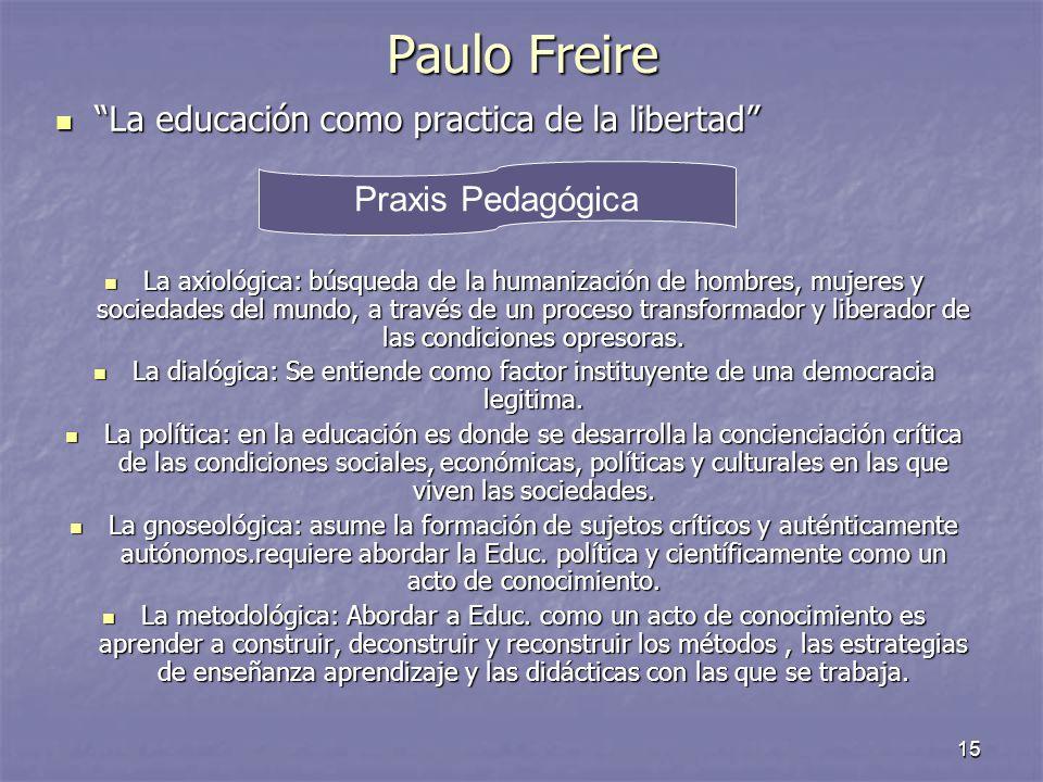 Paulo Freire La educación como practica de la libertad