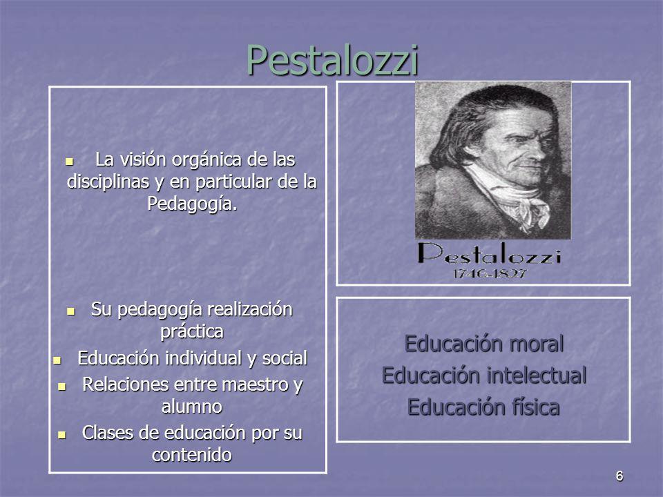 Pestalozzi Educación moral Educación intelectual Educación física