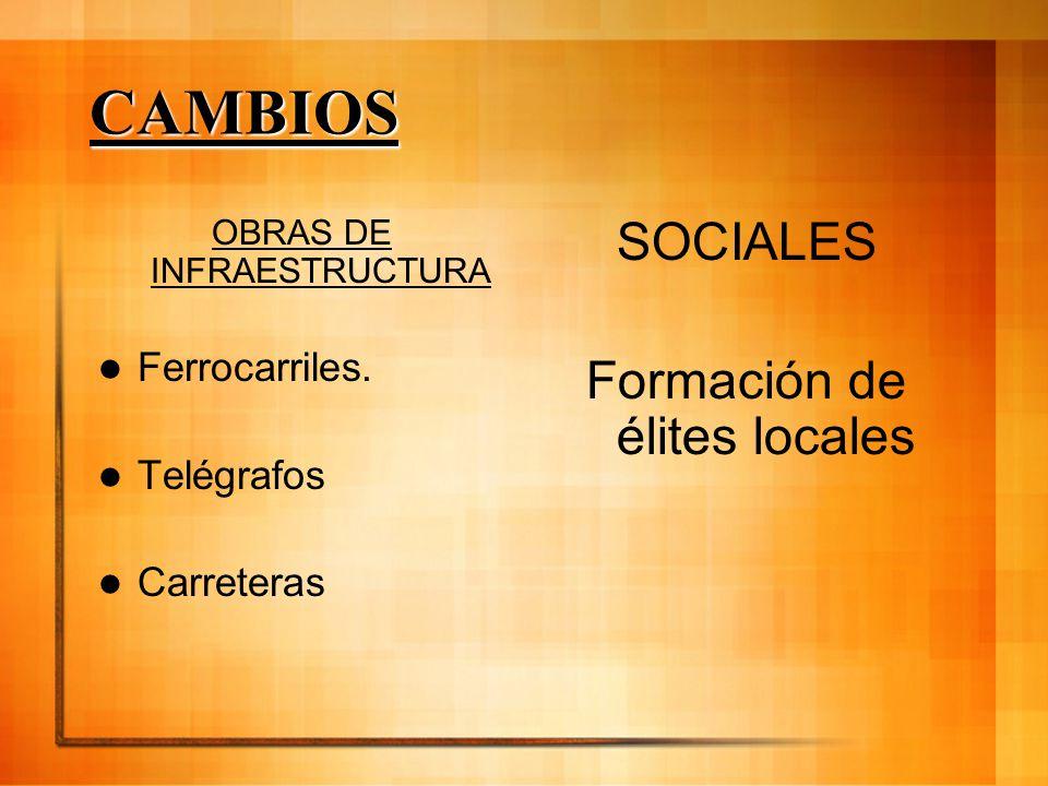 CAMBIOS SOCIALES Formación de élites locales Ferrocarriles. Telégrafos