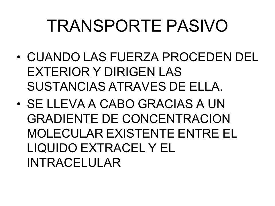 TRANSPORTE PASIVO CUANDO LAS FUERZA PROCEDEN DEL EXTERIOR Y DIRIGEN LAS SUSTANCIAS ATRAVES DE ELLA.