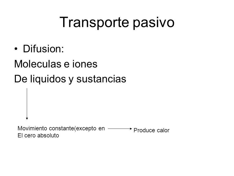 Transporte pasivo Difusion: Moleculas e iones De liquidos y sustancias