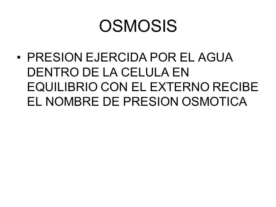 OSMOSIS PRESION EJERCIDA POR EL AGUA DENTRO DE LA CELULA EN EQUILIBRIO CON EL EXTERNO RECIBE EL NOMBRE DE PRESION OSMOTICA.