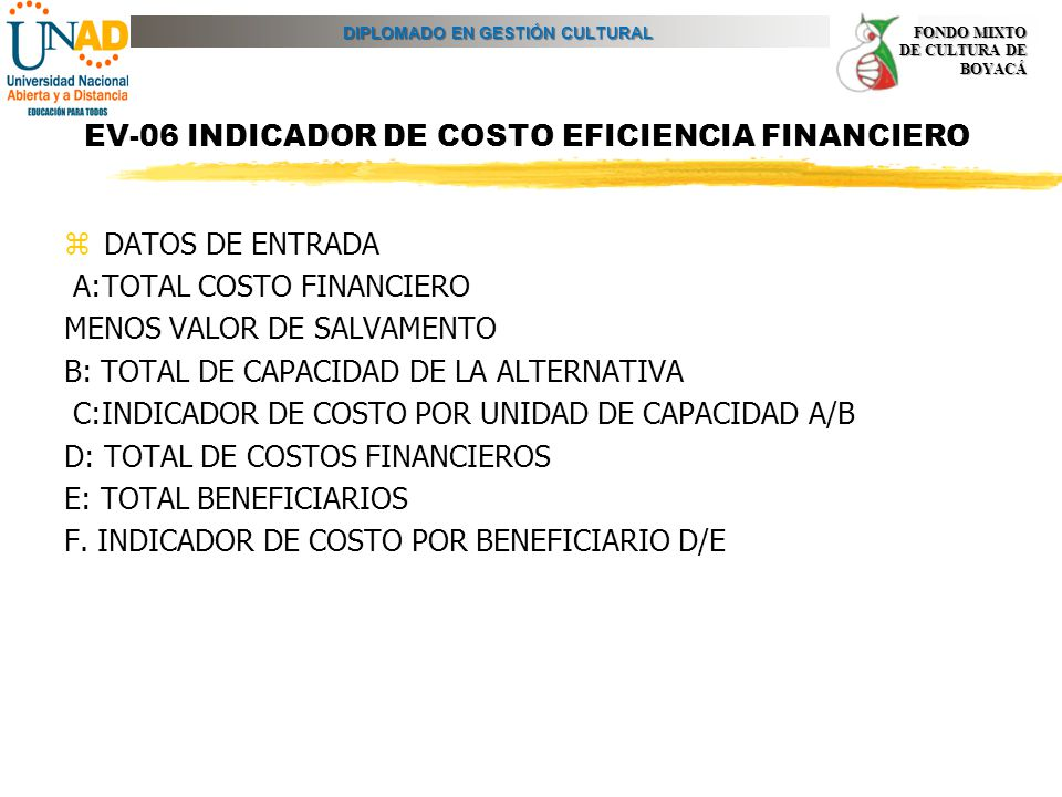 EV-06 INDICADOR DE COSTO EFICIENCIA FINANCIERO