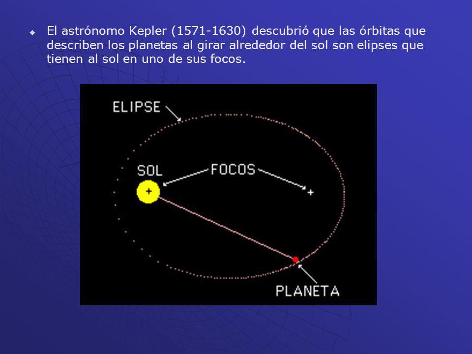 El astrónomo Kepler (1571-1630) descubrió que las órbitas que describen los planetas al girar alrededor del sol son elipses que tienen al sol en uno de sus focos.