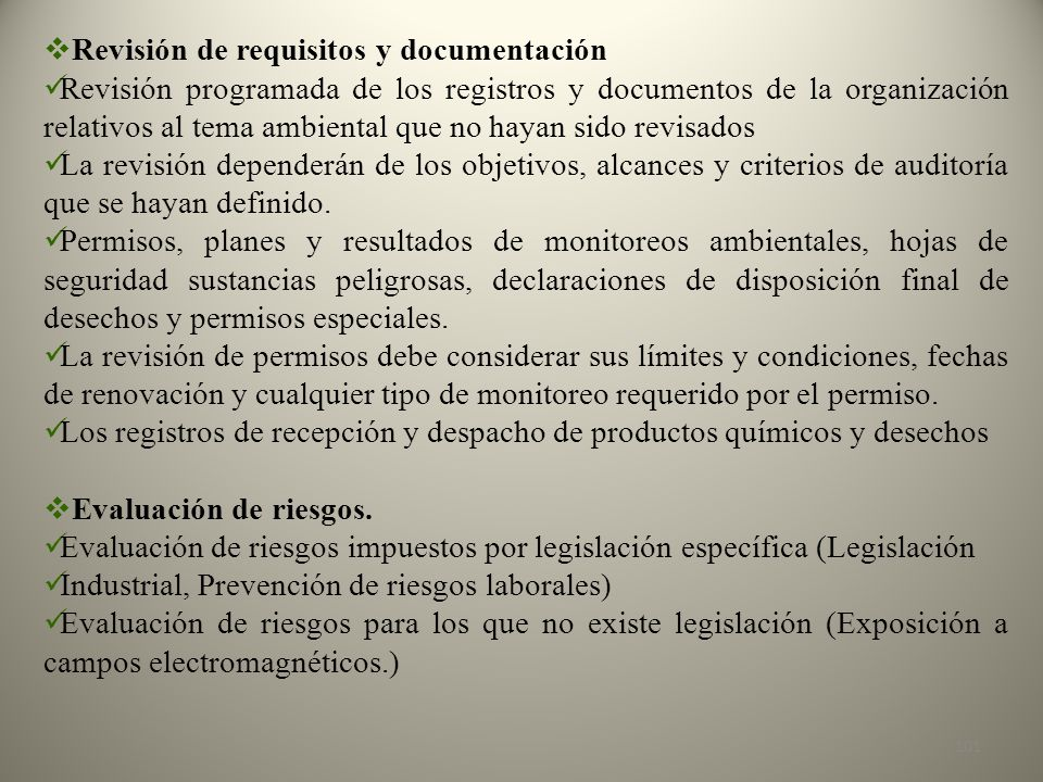 Revisión de requisitos y documentación