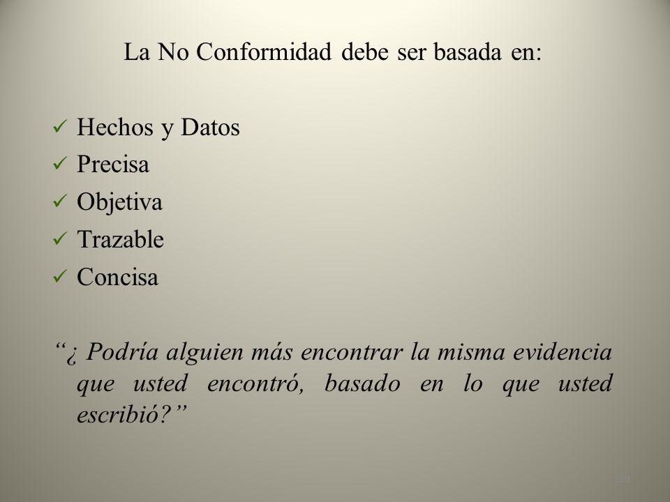 La No Conformidad debe ser basada en: