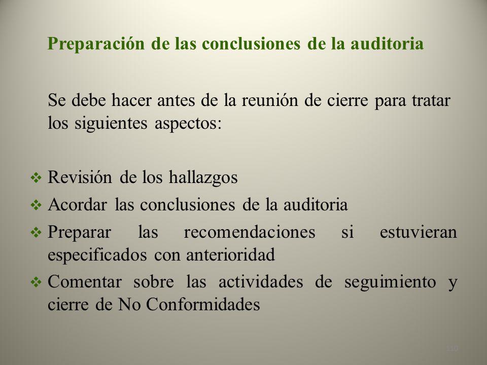 Preparación de las conclusiones de la auditoria