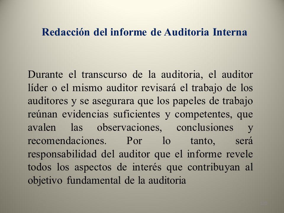 Redacción del informe de Auditoria Interna
