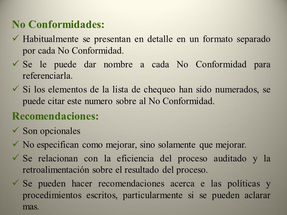 No Conformidades: Recomendaciones: