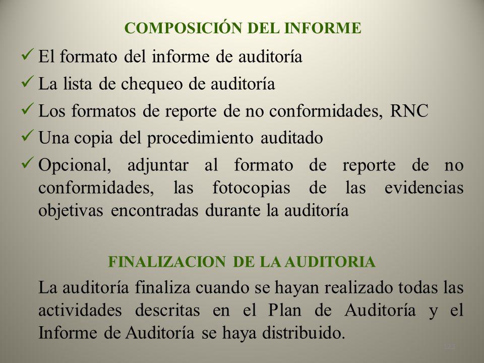 COMPOSICIÓN DEL INFORME FINALIZACION DE LA AUDITORIA