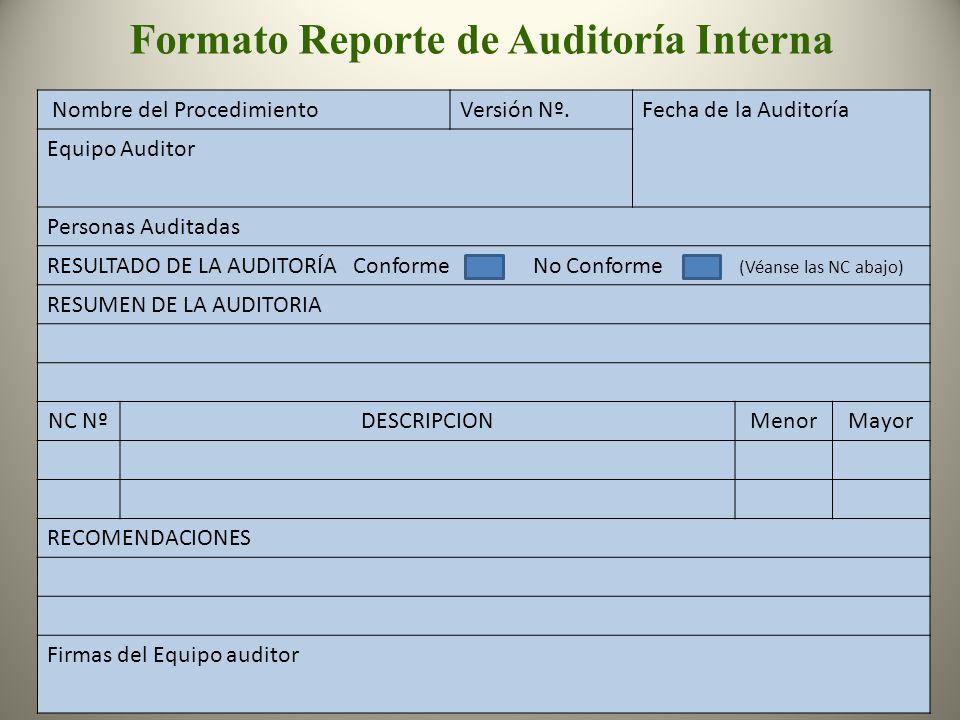 Formato Reporte de Auditoría Interna