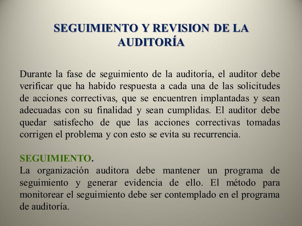 SEGUIMIENTO Y REVISION DE LA AUDITORÍA