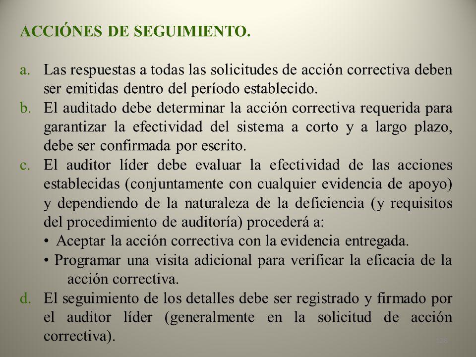 ACCIÓNES DE SEGUIMIENTO.