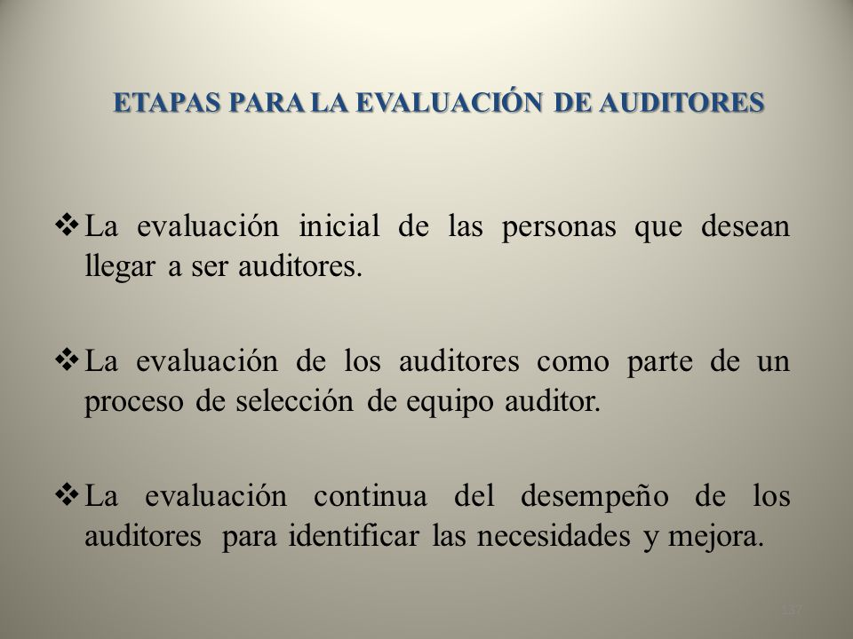 ETAPAS PARA LA EVALUACIÓN DE AUDITORES
