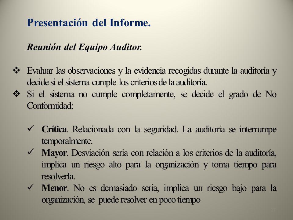 Presentación del Informe.