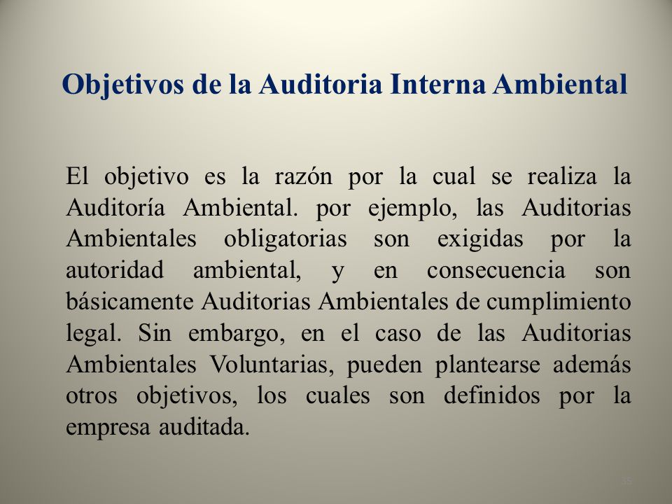 Objetivos de la Auditoria Interna Ambiental