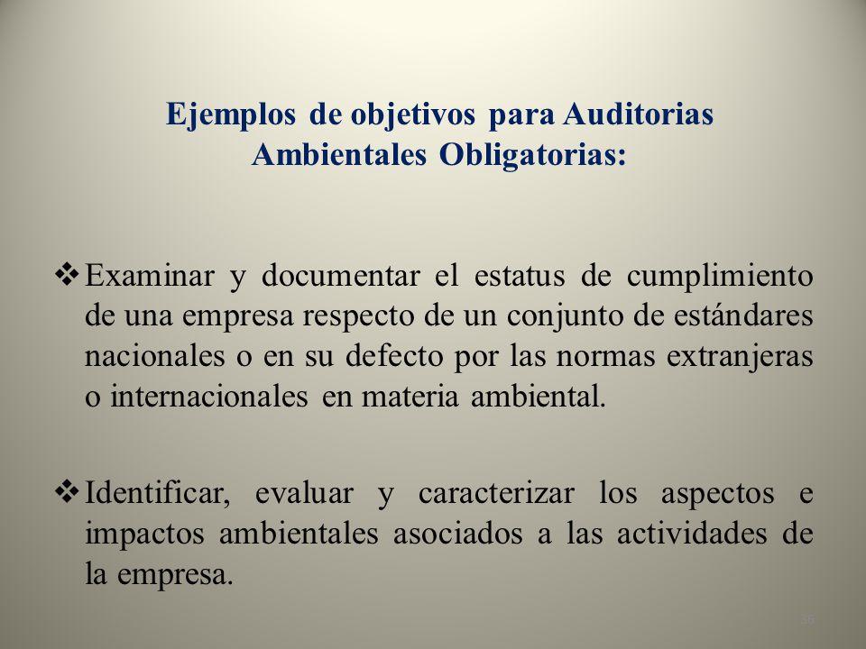 Ejemplos de objetivos para Auditorias Ambientales Obligatorias: