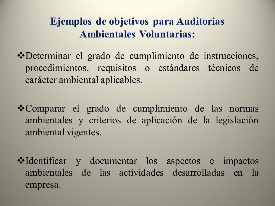 Ejemplos de objetivos para Auditorias Ambientales Voluntarias: