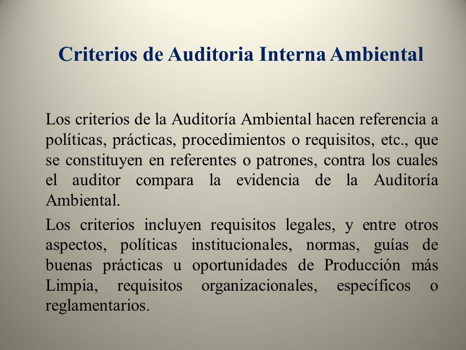Criterios de Auditoria Interna Ambiental