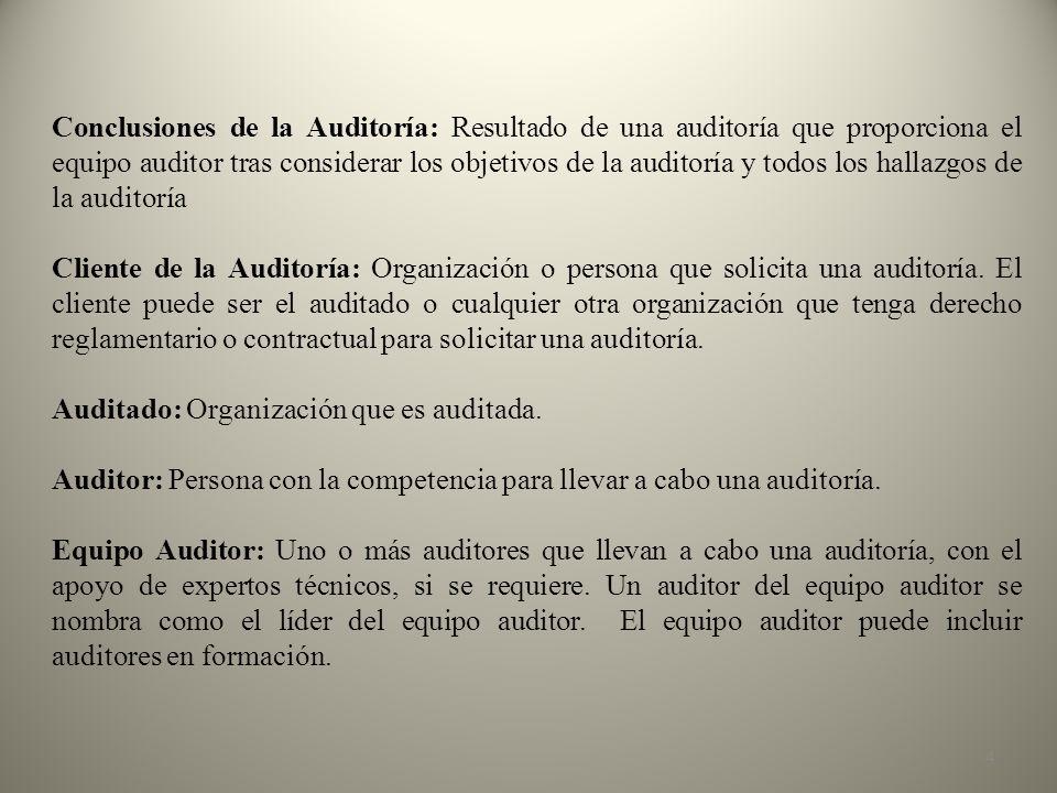 Conclusiones de la Auditoría: Resultado de una auditoría que proporciona el equipo auditor tras considerar los objetivos de la auditoría y todos los hallazgos de la auditoría
