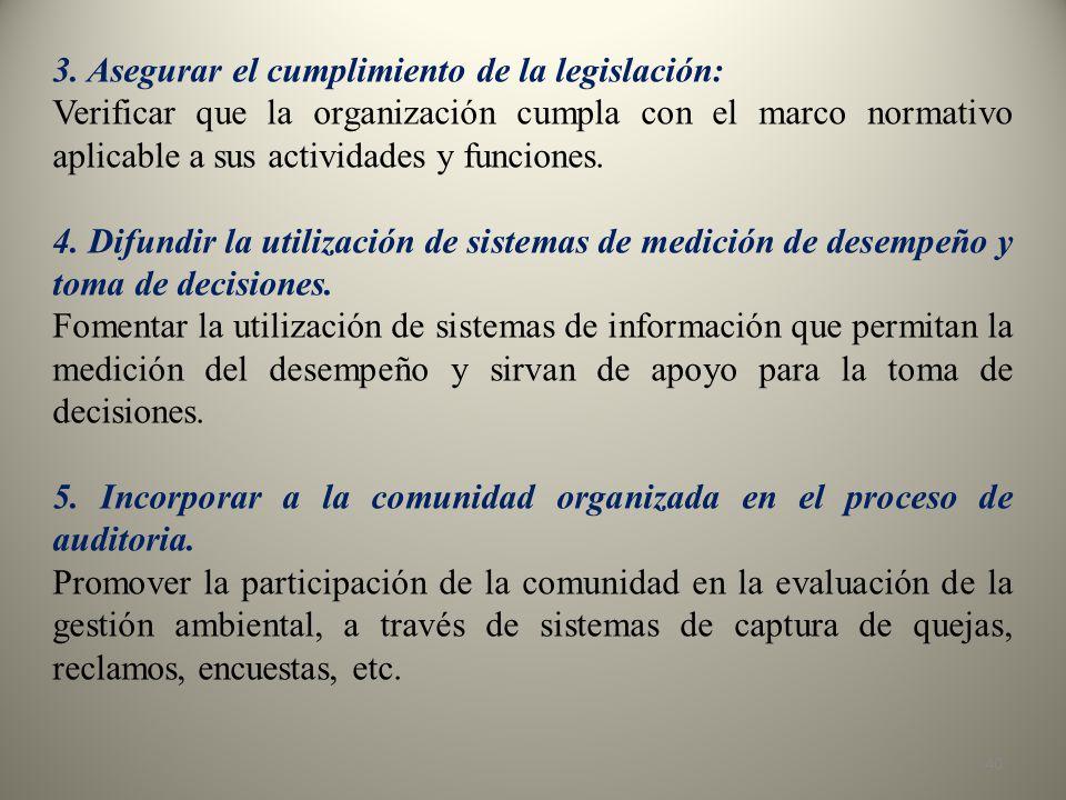 3. Asegurar el cumplimiento de la legislación: