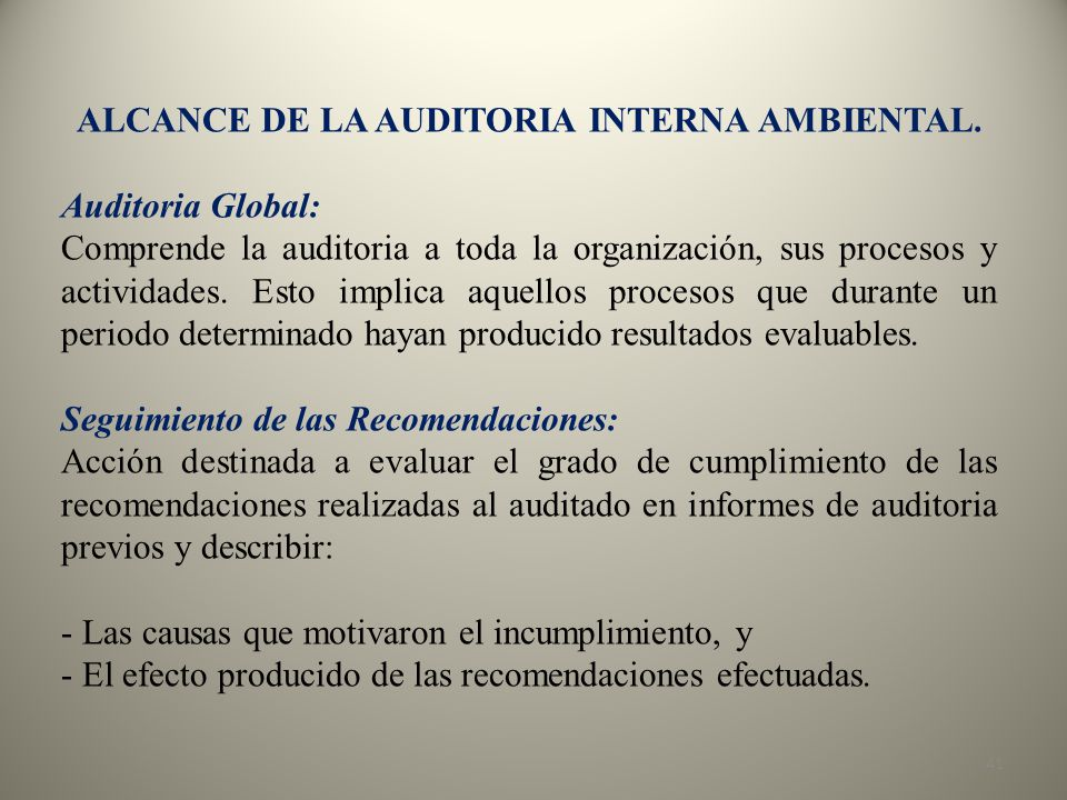 ALCANCE DE LA AUDITORIA INTERNA AMBIENTAL.