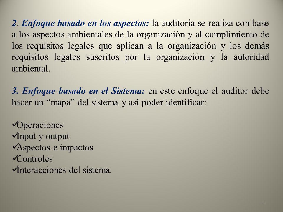 2. Enfoque basado en los aspectos: la auditoria se realiza con base a los aspectos ambientales de la organización y al cumplimiento de los requisitos legales que aplican a la organización y los demás requisitos legales suscritos por la organización y la autoridad ambiental.