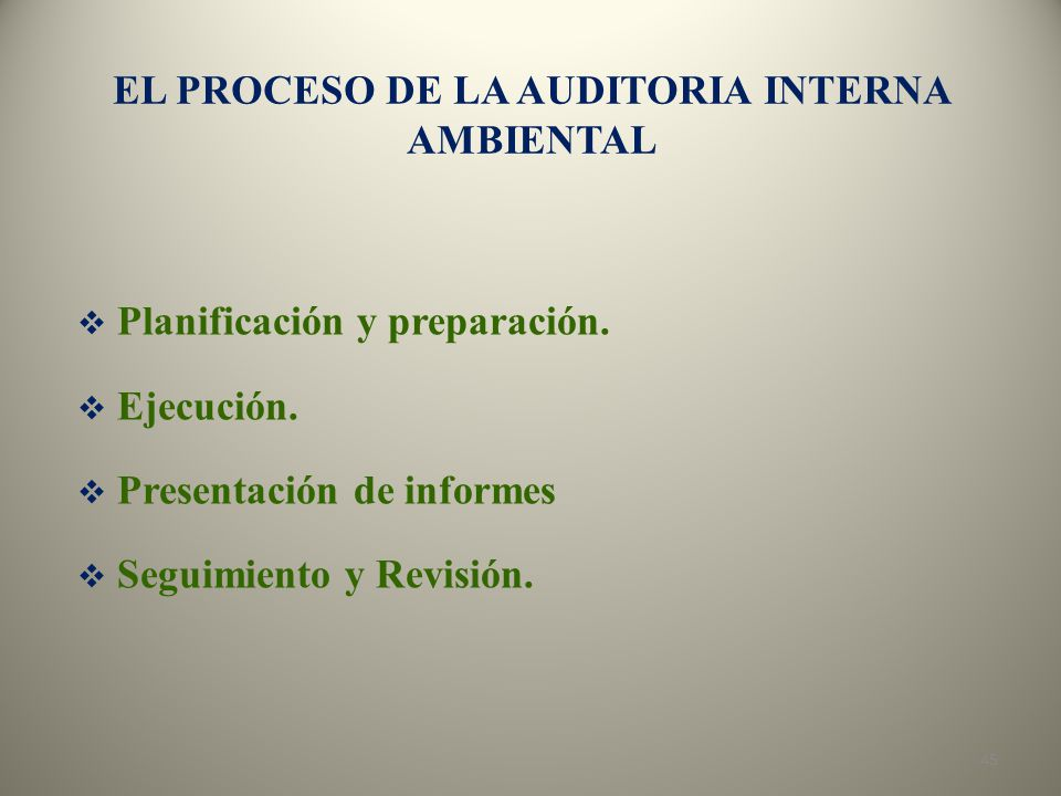 EL PROCESO DE LA AUDITORIA INTERNA AMBIENTAL