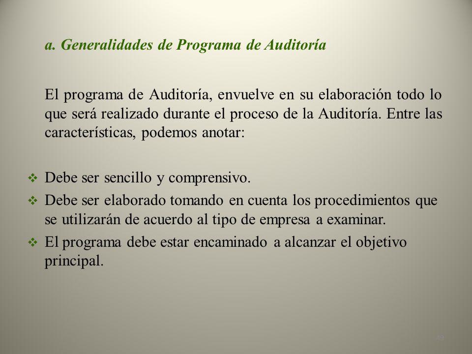 a. Generalidades de Programa de Auditoría