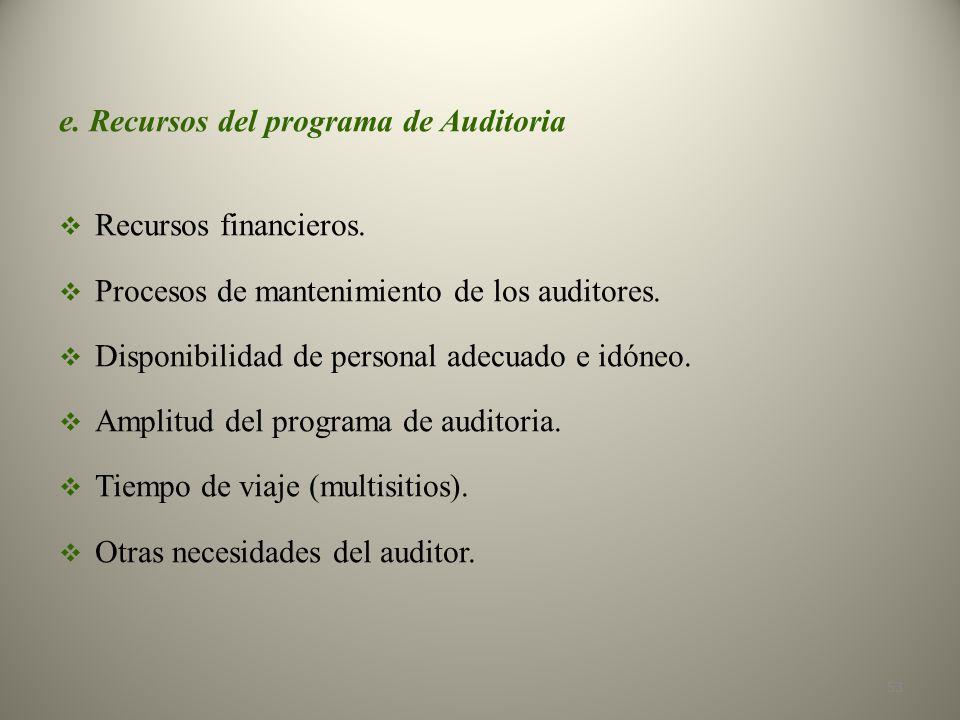 e. Recursos del programa de Auditoria Recursos financieros.