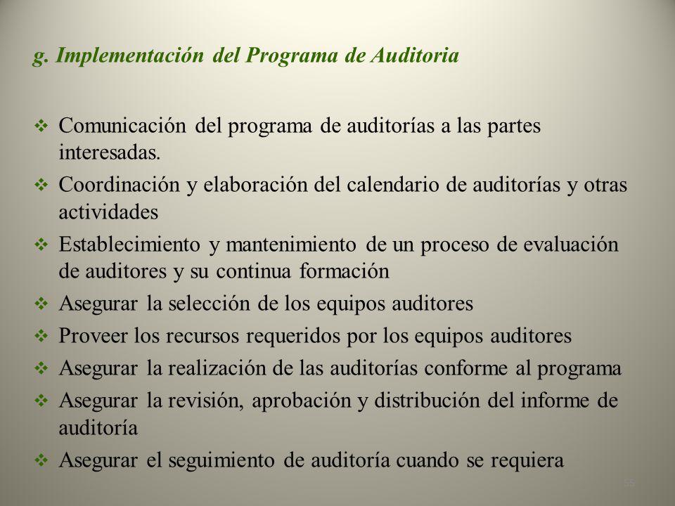 g. Implementación del Programa de Auditoria