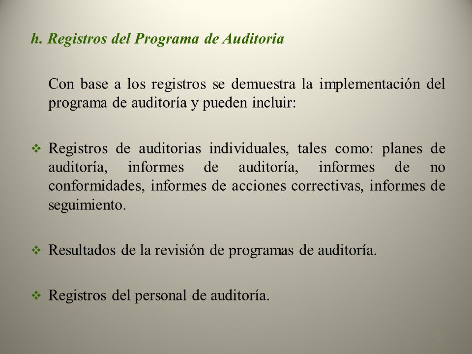 h. Registros del Programa de Auditoria