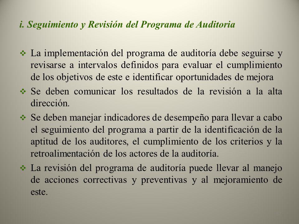 i. Seguimiento y Revisión del Programa de Auditoria