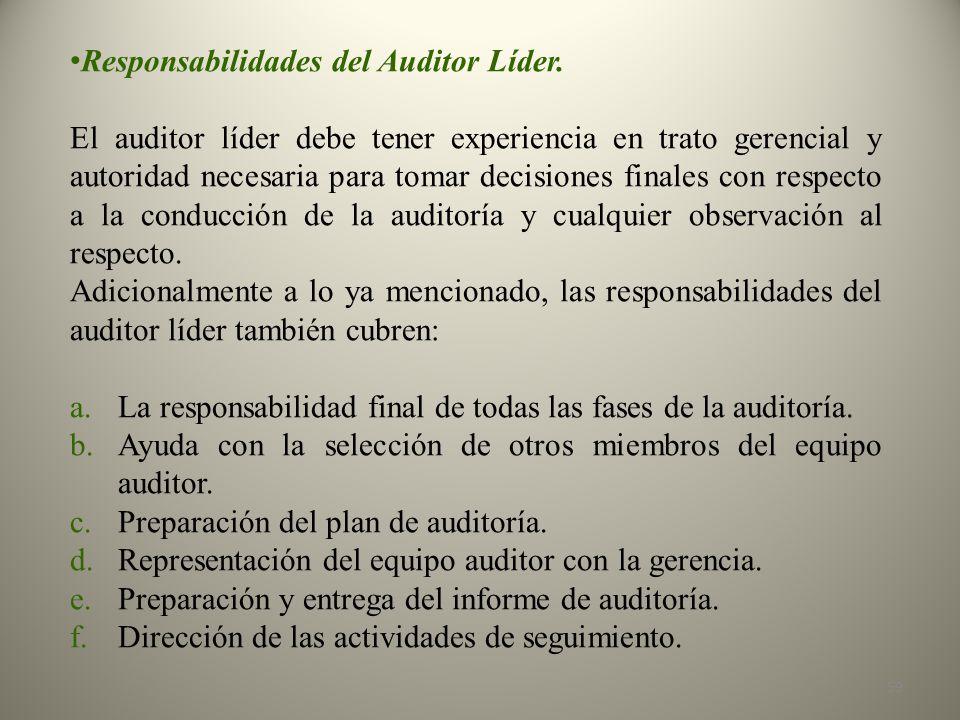 Responsabilidades del Auditor Líder.