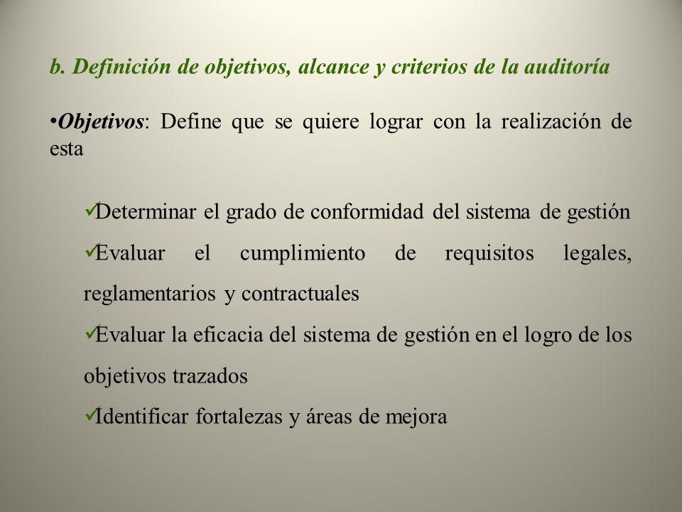 b. Definición de objetivos, alcance y criterios de la auditoría