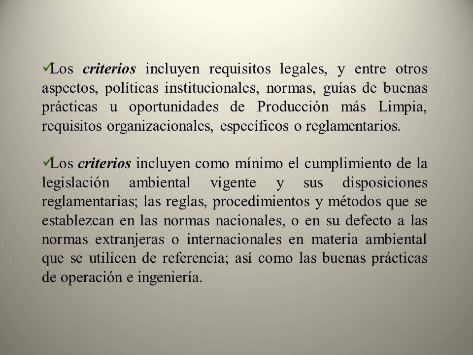 Los criterios incluyen requisitos legales, y entre otros aspectos, políticas institucionales, normas, guías de buenas prácticas u oportunidades de Producción más Limpia, requisitos organizacionales, específicos o reglamentarios.