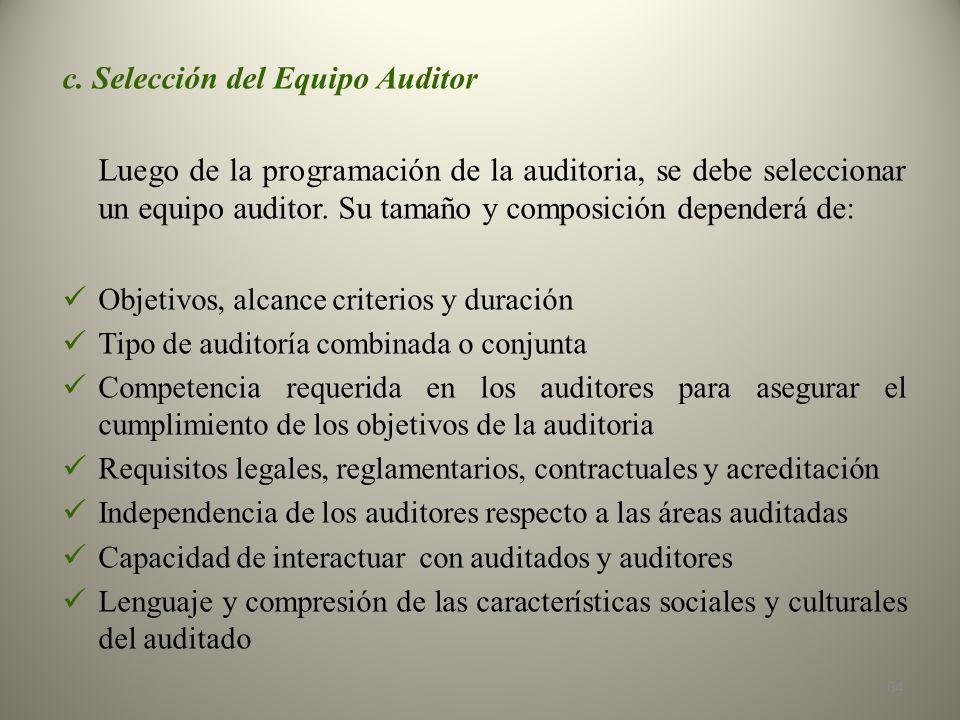 c. Selección del Equipo Auditor