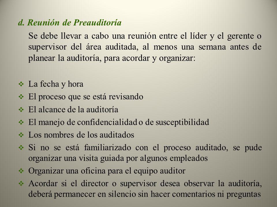 d. Reunión de Preauditoría